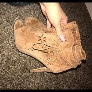 Ivanka Trump Embroidered Suede Booties